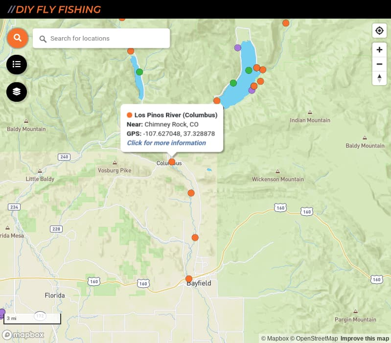 map of fishing access spots on the Los Pinos River in Colorado