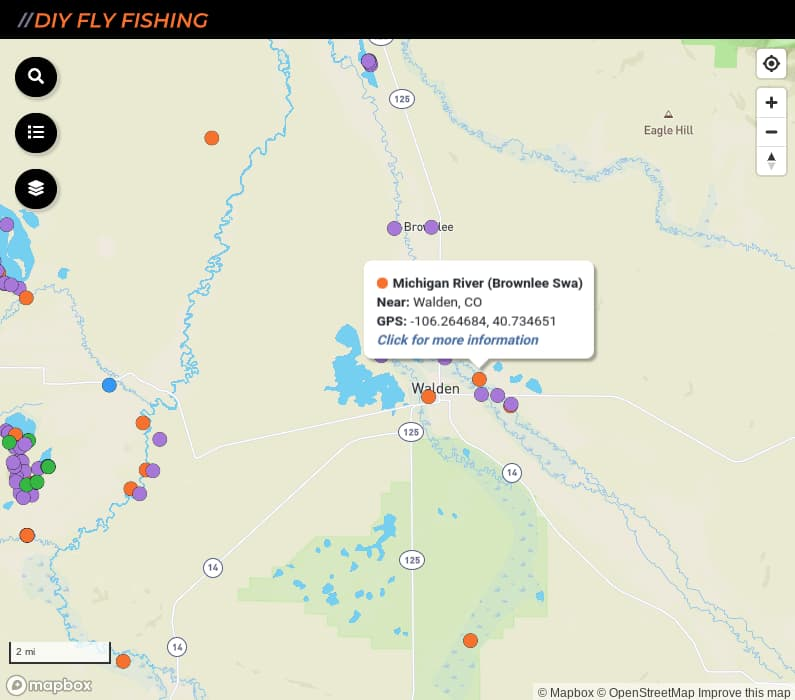map of fishing access spots on the Michigan River in Colorado