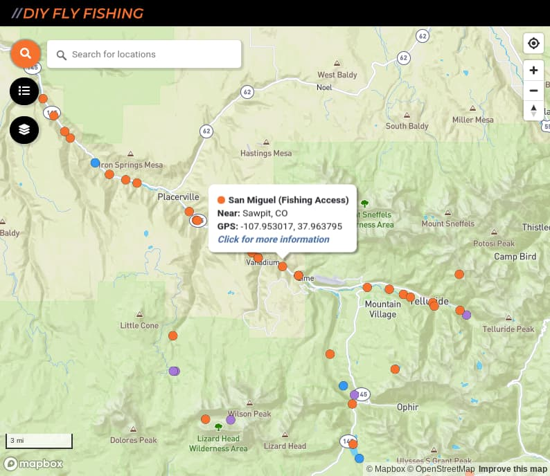 map of fishing access spots on the San Miguel River in Colorado