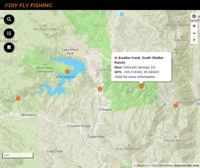 map of fishing access spots on South Boulder Creek in Colorado
