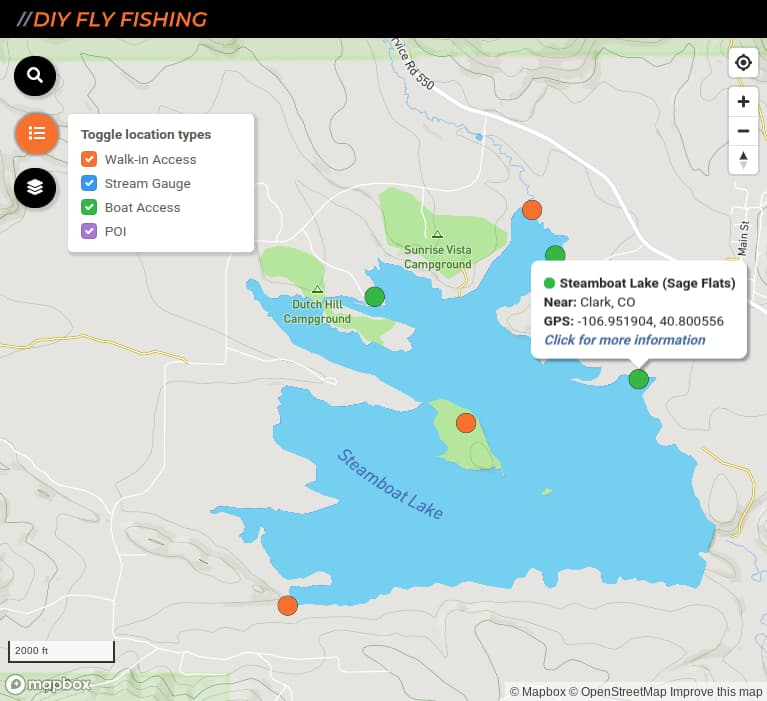 map of boat ramps and fishing spots on Steamboat Lake in Colorado