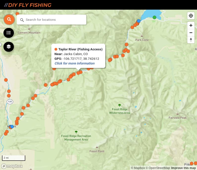 map of fishing access spots on the Taylor River in Colorado
