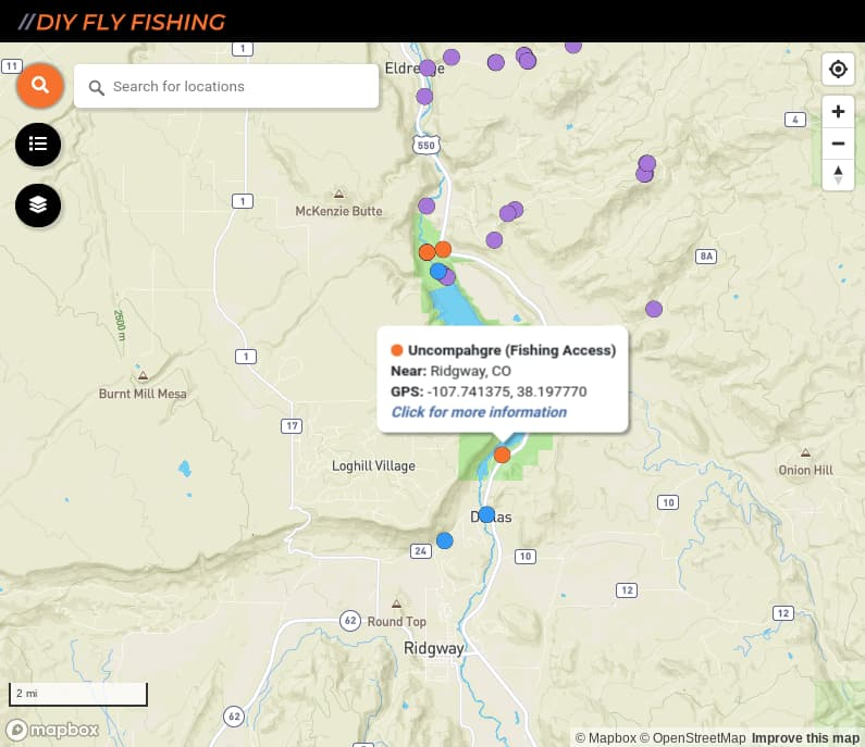 map of fishing access spots on the Uncompahgre River in Colorado