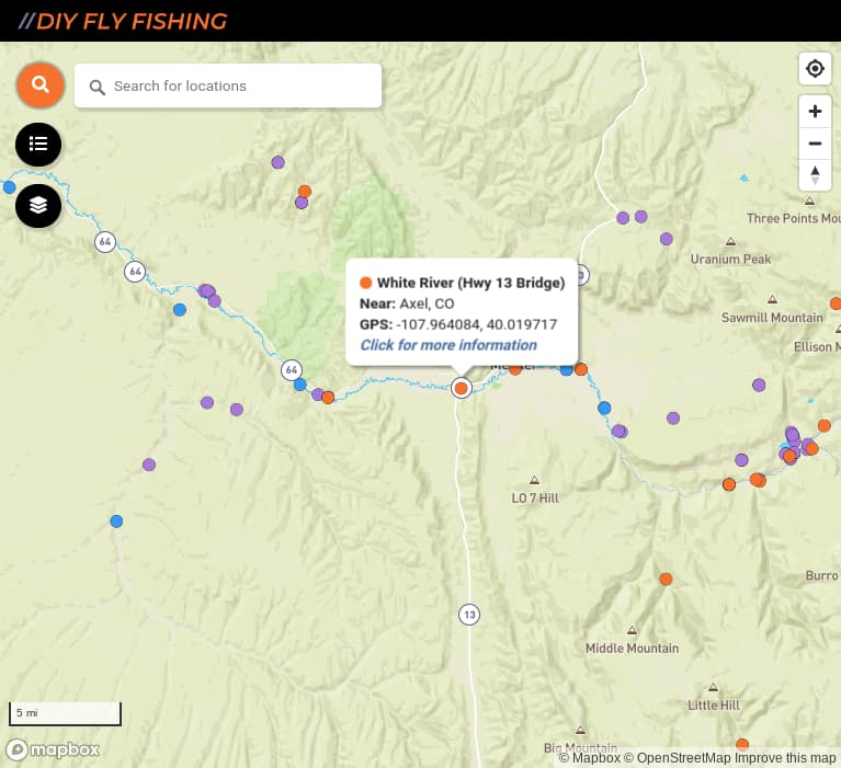 map of fishing access spots on the White River in Colorado