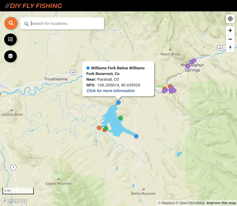 map of fishing access spots on the Williams Fork River in Colorado