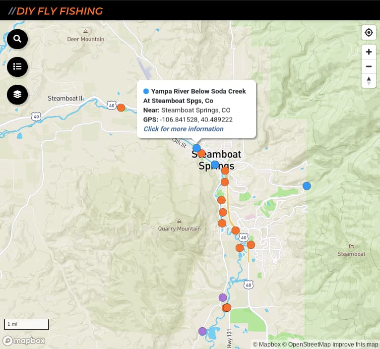 map of fishing access spots on the Yampa River in Colorado