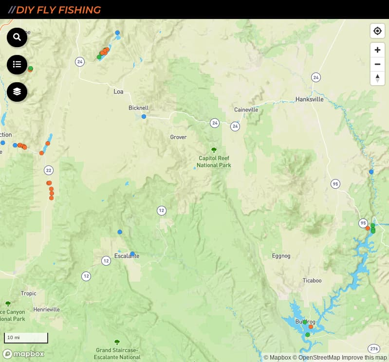 map of fishing access spots in Capitol Reef National Park