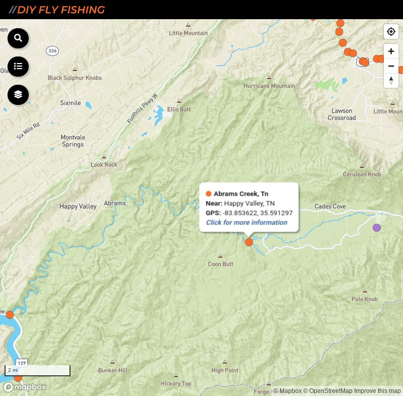 map of fishing access spots on Abrams Creek in Great Smoky Mountains National Park