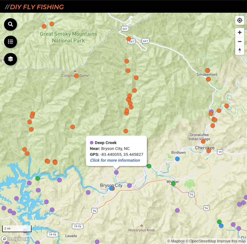 map of fishing access spots on Deep Creek in Great Smoky Mountains National Park