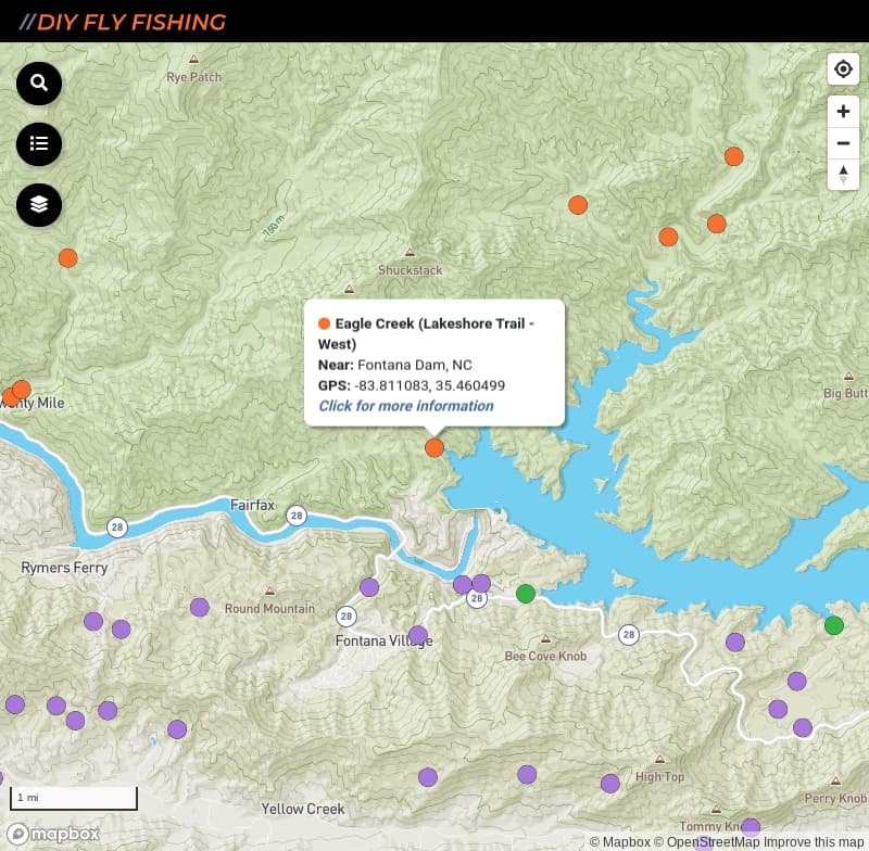 map of fishing access spots on Eagle Creek in Great Smoky Mountains National Park