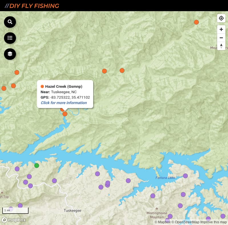 map of fishing access spots on Hazel Creek in Great Smoky Mountains National Park