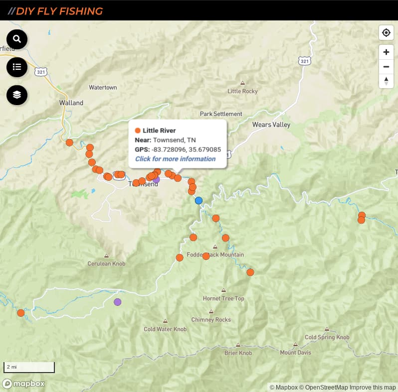 map of fishing access spots on the Little River in Great Smoky Mountains National Park