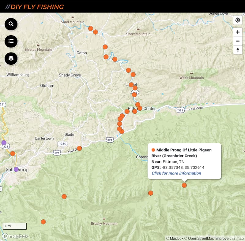 map of fishing access spots on Middle Prong Little Pigeon River in Great Smoky Mountains National Park