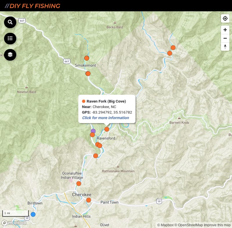 map of fishing access spots on the Raven Fork in Great Smoky Mountains National Park