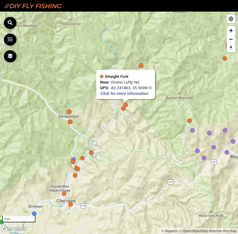 map of fishing access spots on Straight Fork in Great Smoky Mountains National Park