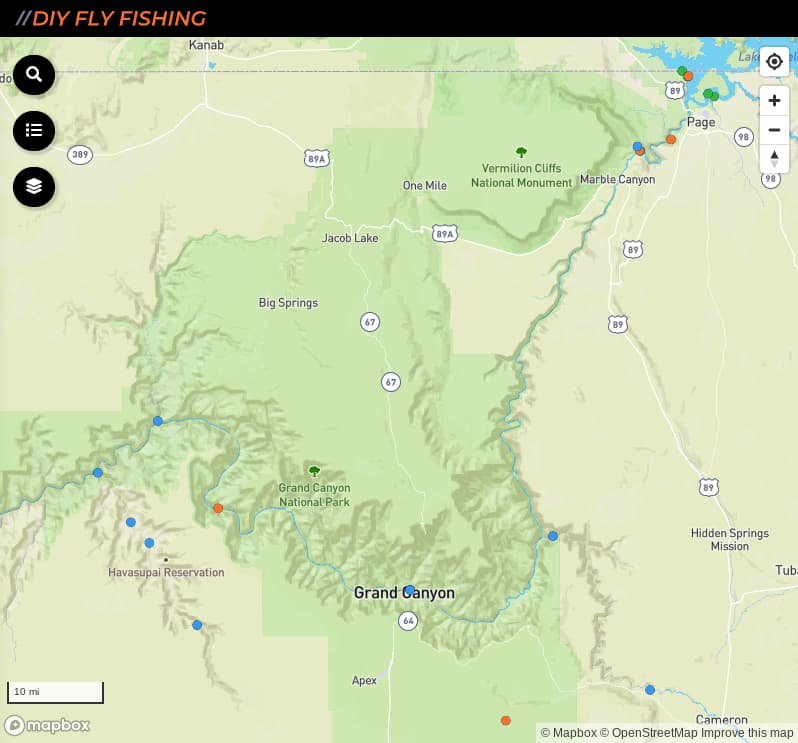 map of fishing access spots in Grand Canyon National Park