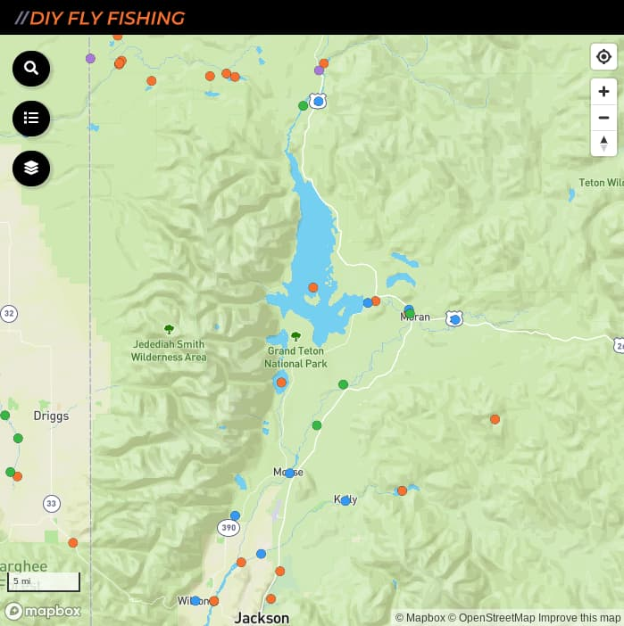 map of fishing access spots in Grand Teton National Park