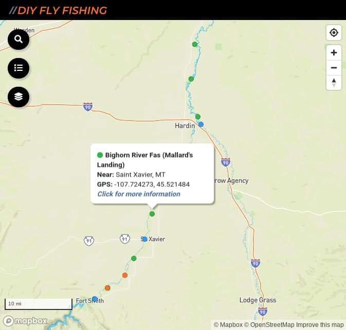 Map of fishing access spots on the Bighorn River in Montana