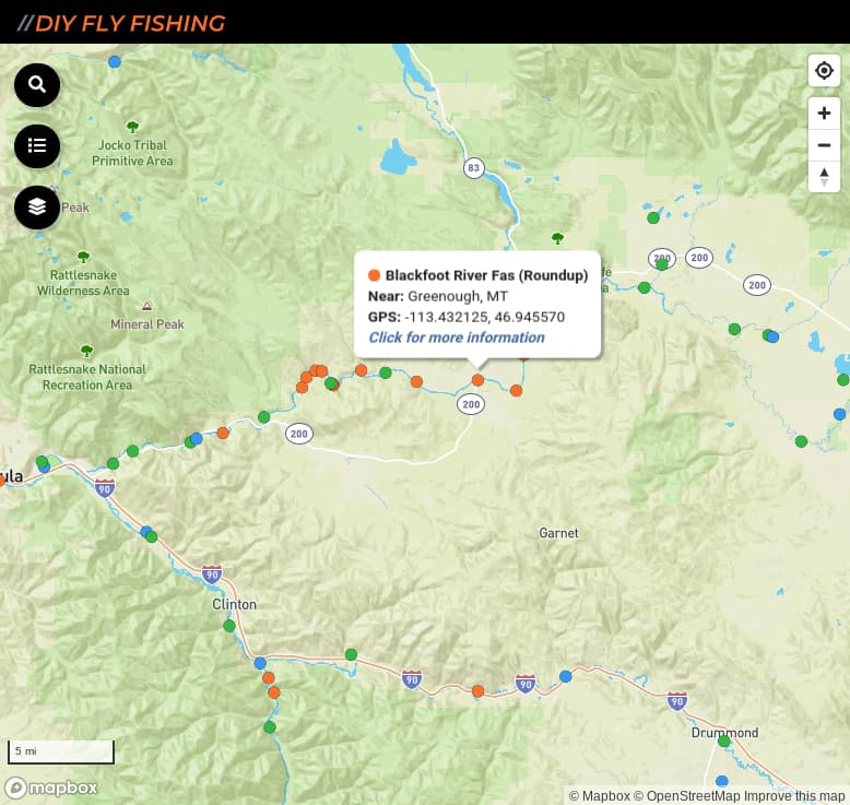 Map of fishing access spots on the Blackfoot River in Montana