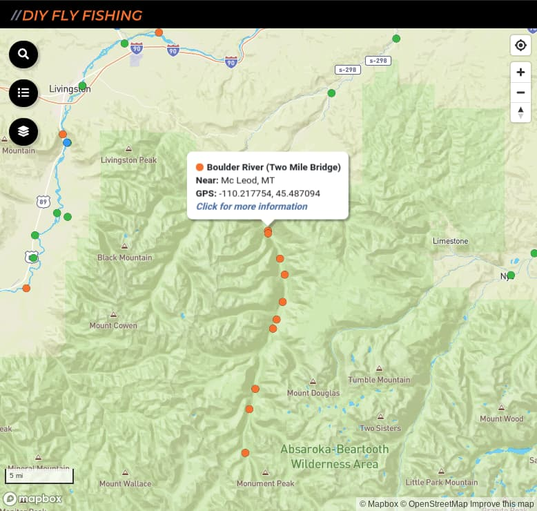 map of fishing access spots on Boulder River in Montana