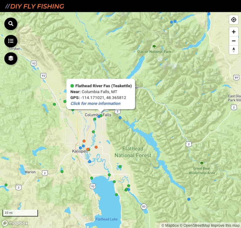 map of fishing access spots on the Flathead River in Montana