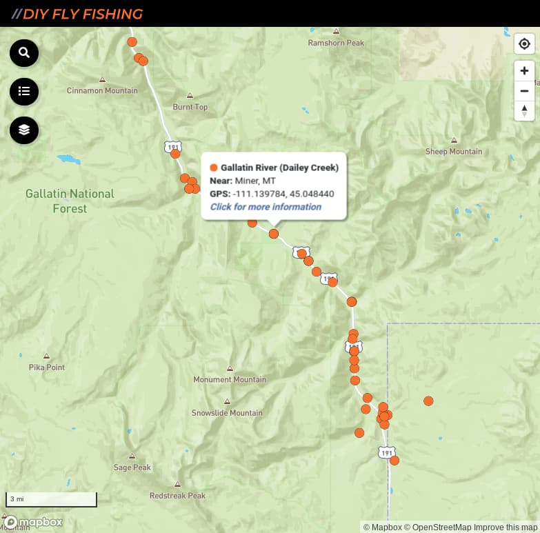 map of fishing access spots on the Gallatin River in Montana