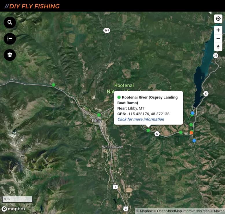 map of fishing access spots on the Kootenai River in Montana