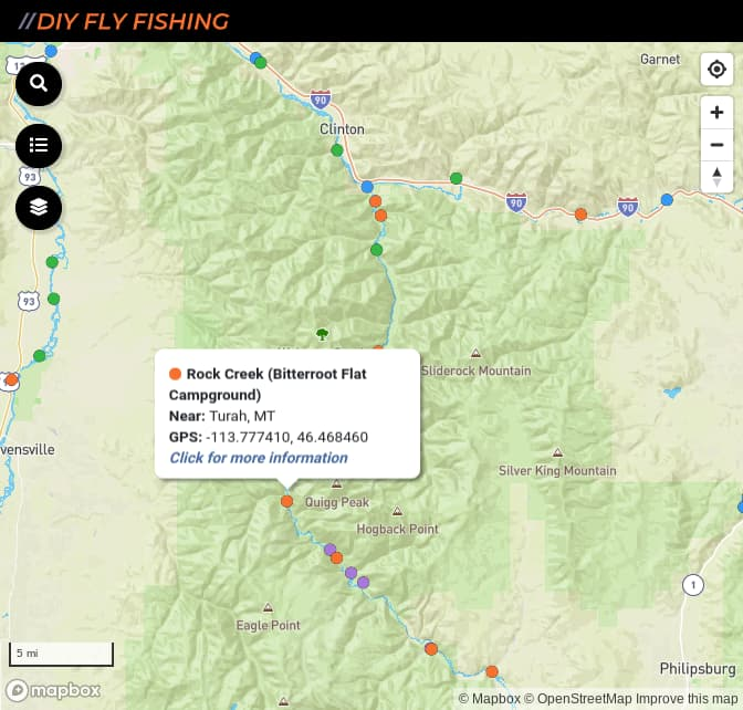 Map of fishing access spots on Rock Creek in Montana