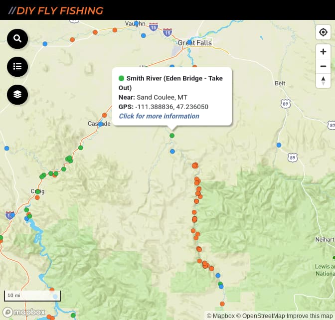Map of fishing access spots on the Smith River in Montana