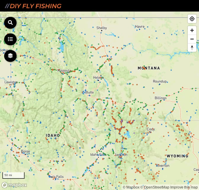 map of the best places to fish in Montana