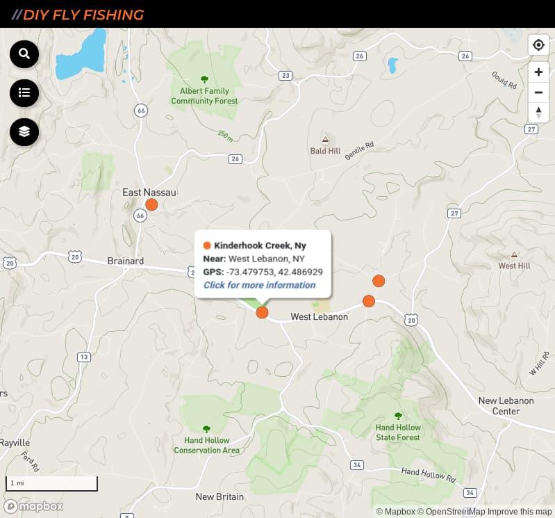 map of fishing access spots on Kinderhook Creek in New York