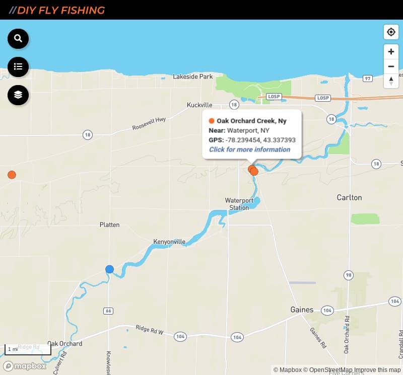 map of fishing access spots on Oak Orchard Creek in New York