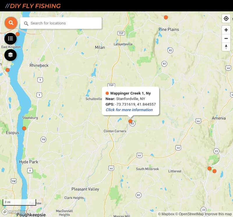 map of fishing access spots on Wappinger Creek in New York