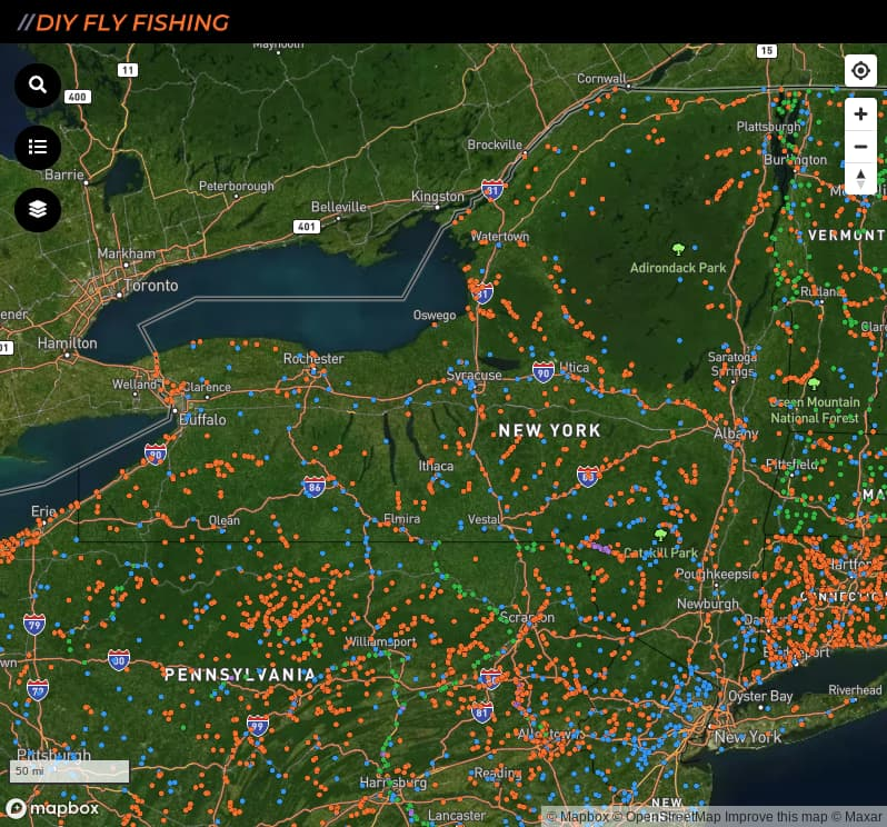 map of fishing access spots in New York