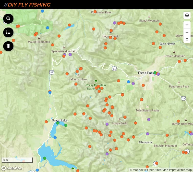 map of fishing spots in Rocky Mountain National Park