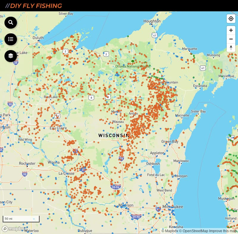 map of places to fish in Wisconsin