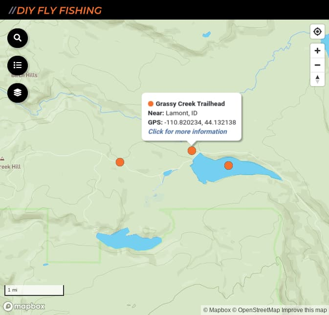 map of fishing access sites on the Fall River in Yellowstone National Park