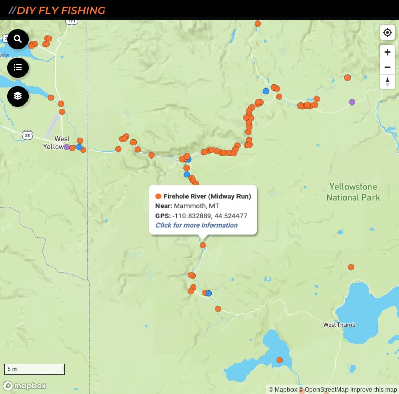 map of fishing access spots on the Firehole River in Yellowstone National Park