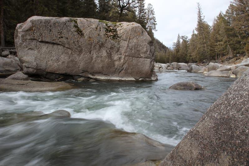 hugh boulder in Lamar River in Yellowstone National Park