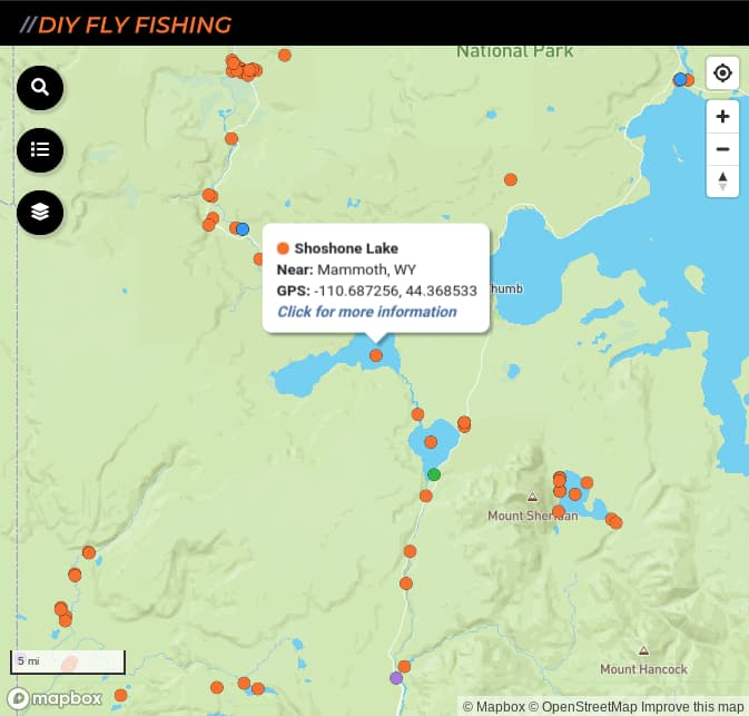 map of fishing access spots on Shoshone Lake  in Yellowstone National Park