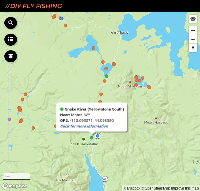 map of fishing access spots on the Snake River in Yellowstone National Park