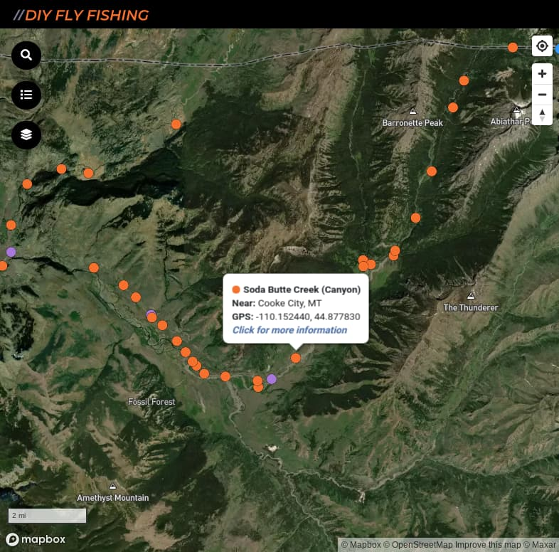 map of fishing access spots on Soda Butte Creek in Yellowstone National Park