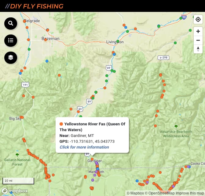map of fishing access spots on the Yellow River in Montana