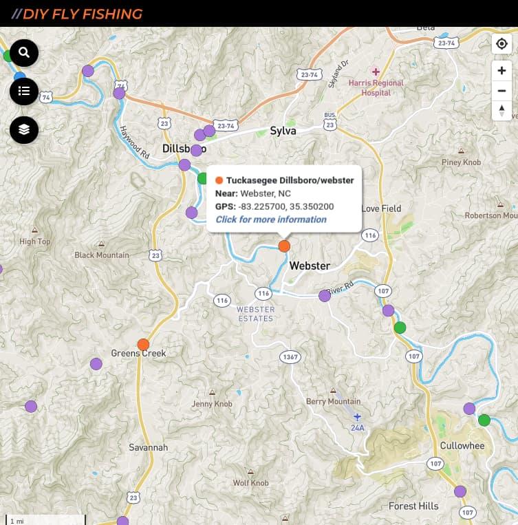 map of best fishing spots on Tuckasegee River in North Carolina